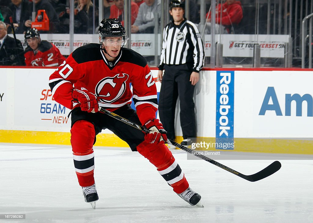 <a gi-track='captionPersonalityLinkClicked' href=/galleries/search?phrase=Ryan+Carter+-+Ice+Hockey+Player&family=editorial&specificpeople=3144941 ng-click='$event.stopPropagation()'>Ryan Carter</a> #20 of the New Jersey Devils skates against the Montreal Canadiens at the Prudential Center on April 23, 2013 in Newark, New Jersey. The Devils defeated the Canadiens 3-2.