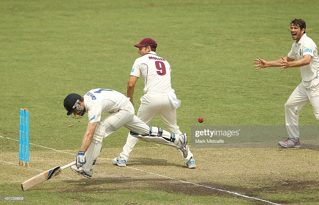 Ryan Carters of the Blues avoids a runout during day one of the Sheffield Shield match between the New South Wales Blues and the Queensland Bulls at Sydney Cricket Ground on November 22, 2013 in Sydney, Australia.
