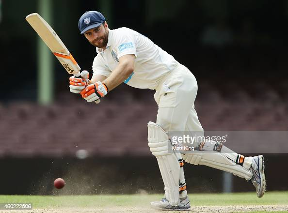 Ryan Carters of the Blues bats during day two of the Sheffield Shield match between New South Wales and Queensland at Sydney Cricket Ground on...