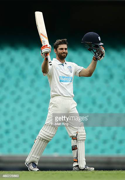Ryan Carters of the Blues celebrates and acknowledges the crowd after scoring a century during day two of the Sheffield Shield match between New...