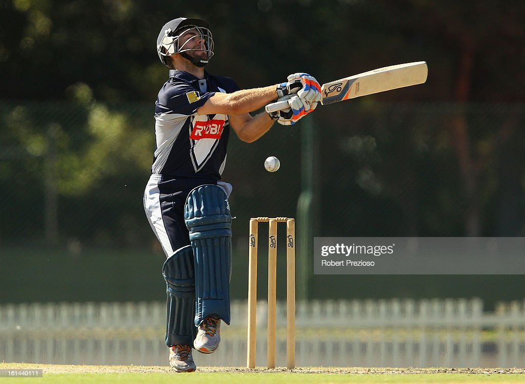 Ryan Carters of the Bushrangers plays a shot during the International Tour match between the Victoria Bushrangers and England Lions at Junction Oval on February 11, 2013 in Melbourne, Australia.