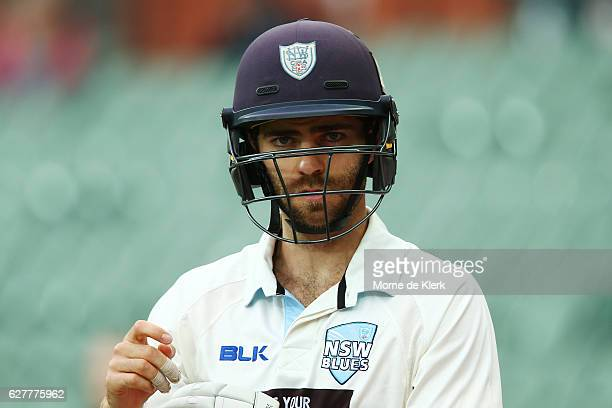 Ryan Carters of the NSW Blues looks on during day one of the Sheffield Shield match between South Australia and New South Wales at Adelaide Oval on...