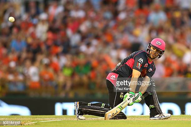 Ryan Carters of the Sixers reverse sweeps during the Big Bash League match between Perth Scorchers and Sydney Sixers at WACA on January 2 2016 in...