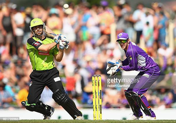 Ryan Carters of the Thunder bats during the Big Bash League match between the Hobart Hurricanes and Sydney Thunder at Blundstone Arena on January 11...