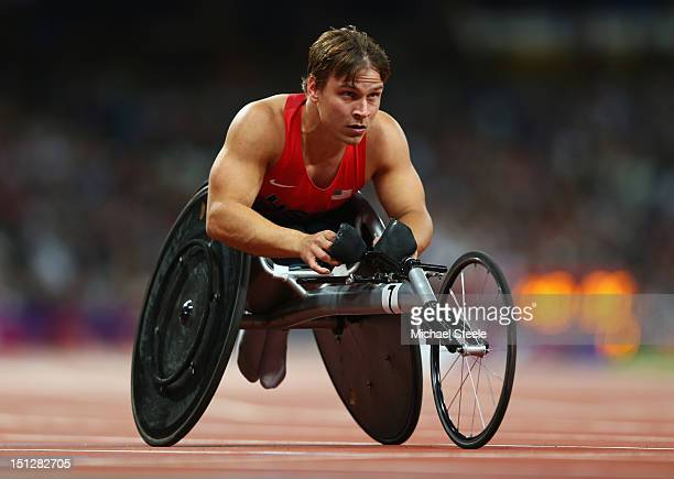 Ryan Chalmers of the United States competes in the Men's 400m T54 heats on day 7 of the London 2012 Paralympic Games at Olympic Stadium on September...