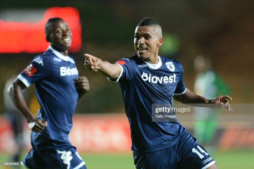 Ryan Chapman of Wits celebrates his goal during the Absa Premiership match between Bidvest Wits and Bloemfontein Celtic at Bidvest Stadium on December 21, 2013 in Johannesburg, South Africa.