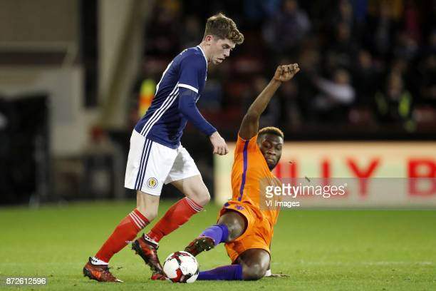Ryan Christie of Scotland Timothy FosuMensah of Holland during the friendly match between Scotland and The Netherlands on November 09 2017 at...