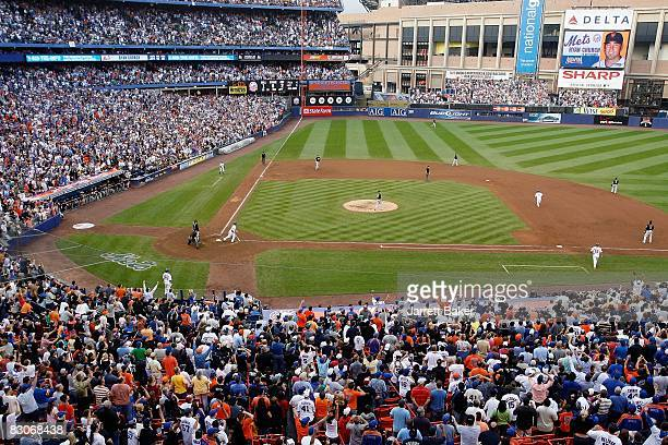 Ryan Church of the New York Mets flies out against pitcher Matt Lindstrum of the Florida Marlins for the last at bat in Shea Stadium during the last...