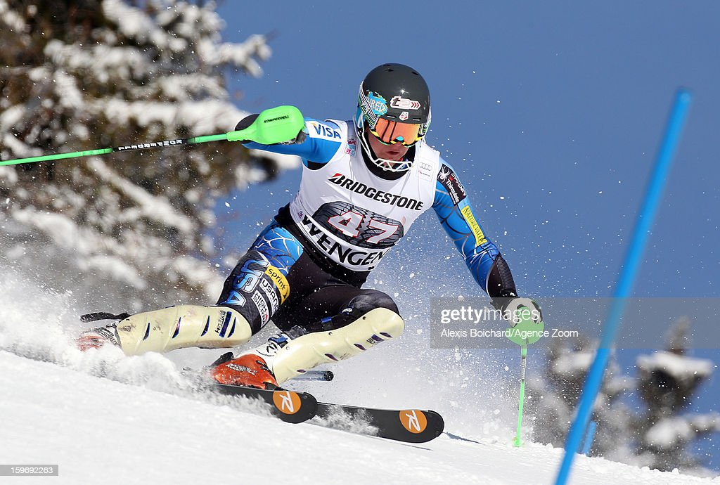 Ryan Cochran-Siegle of the USA competes during the Audi FIS Alpine Ski World Cup Men's Super Combined on January 18, 2013 in Wengen, Switzerland.