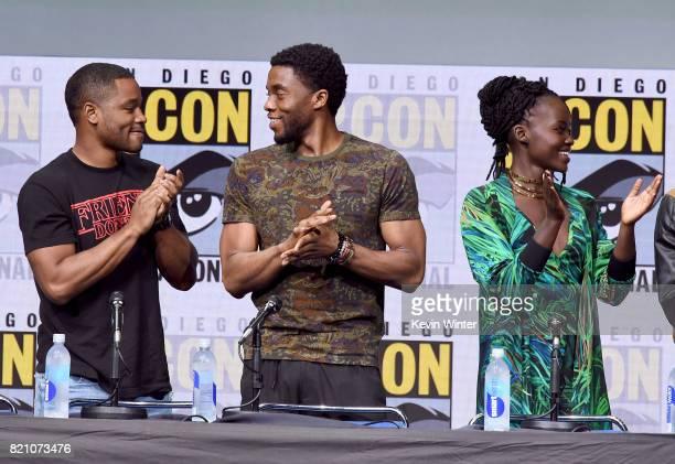 Ryan Coogler Chadwick Boseman and Lupita Nyong'o from 'Black Panther' attends the Marvel Studios Presentation during ComicCon International 2017 at...
