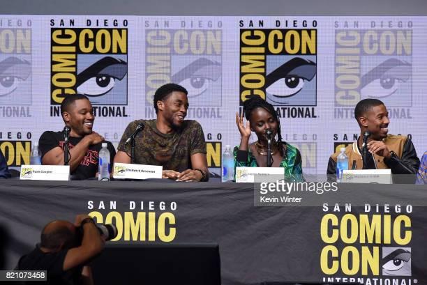 Ryan Coogler Chadwick Boseman Lupita Nyong'o and Michael B Jordan from 'Black Panther' attends the Marvel Studios Presentation during ComicCon...