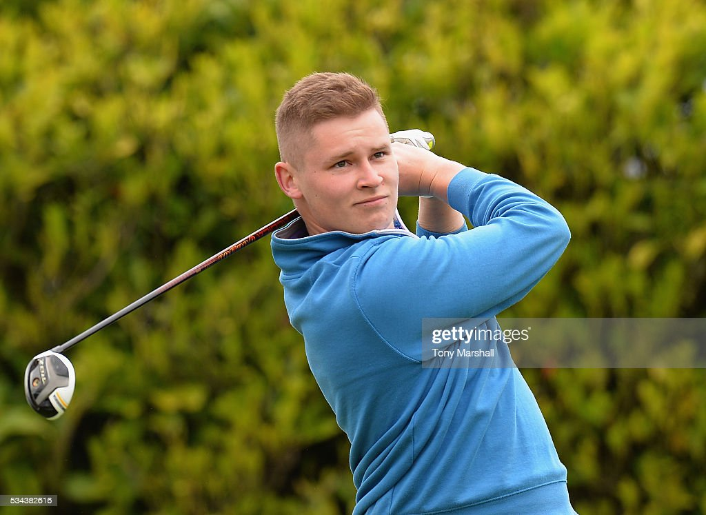 Ryan Corbett of Worcestershire Golf Club plays his first shot on the 1st tee during the PGA Assistants Championships - Midlands Qualifier at the Coventry Golf Club on May 26, 2016 in Coventry, England.