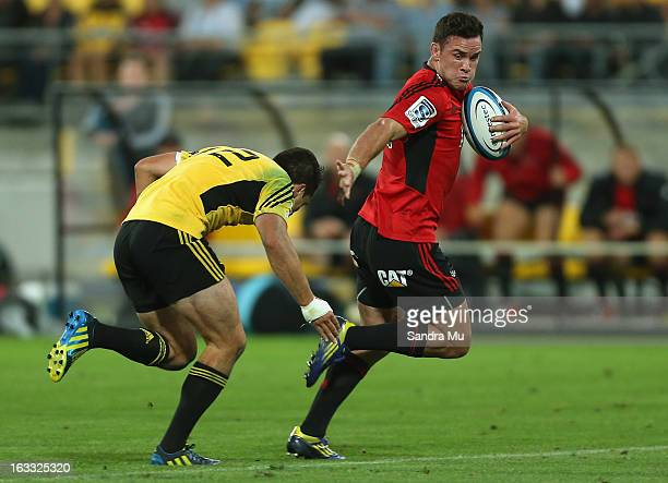 Ryan Cotty of the Crusaders in action during the round four Super Rugby match between the Hurricanes and the Crusaders at Wellington Regional Stadium...