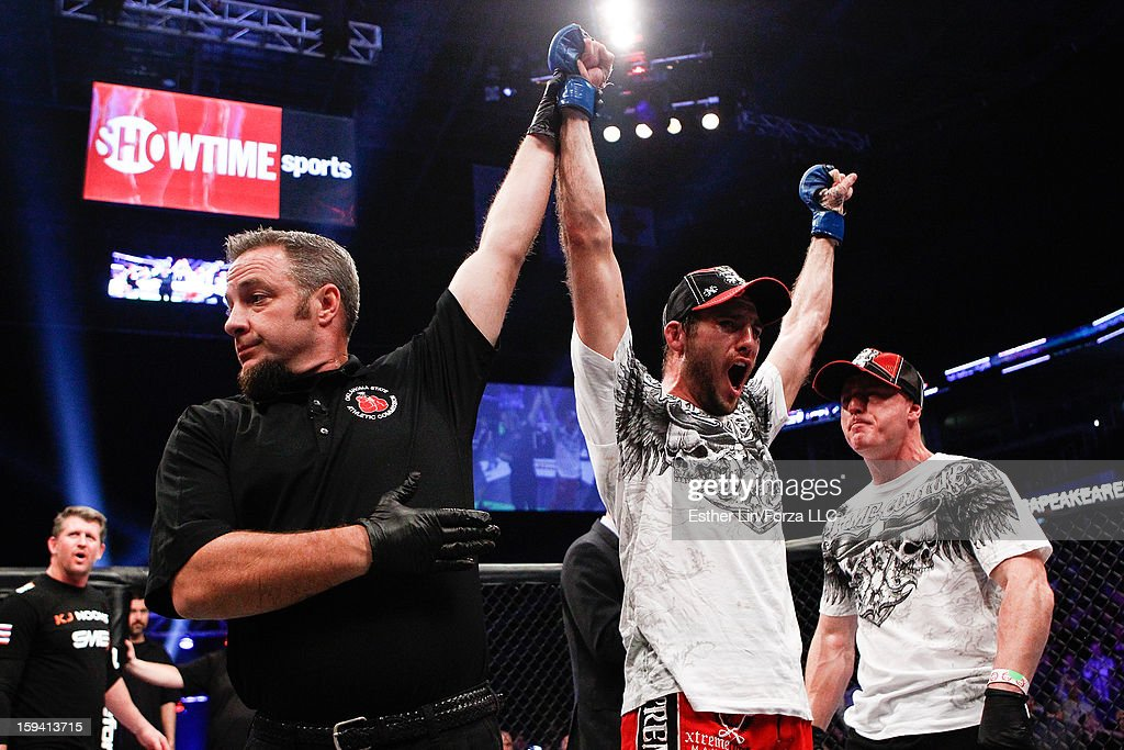 Ryan Couture reacts after defeating Karl 'KJ' Noons in their lightweight bout during the Strikeforce event on January 12, 2013 at Chesapeake Energy Arena in Oklahoma City, Oklahoma.