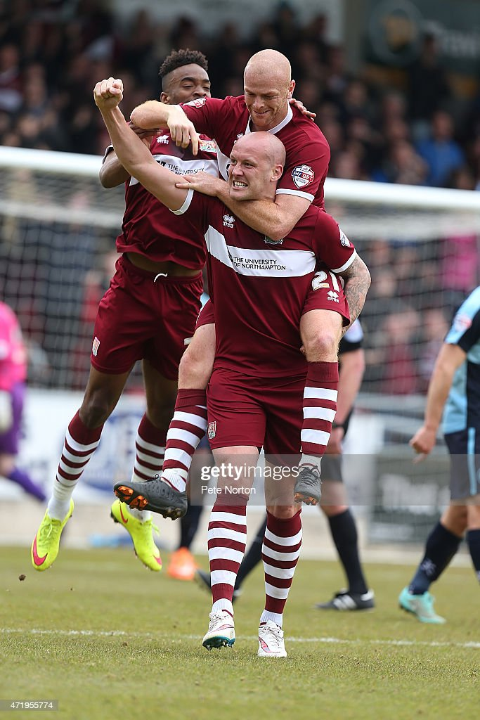 Ryan Cresswell of Northampton Town celebrates after scoring his sides 2nd goal during the Sky Bet League Two match between Northampton Town and Wycombe Wanderers at Sixfields Stadium on May 2, 2015 in Northampton, England.