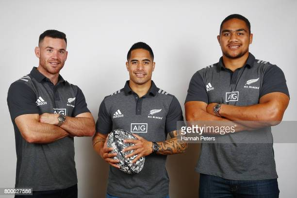 Ryan Crotty Aaron Smith and Ofa Tu'ungafasi pose for portraits on June 23 2017 in Auckland New Zealand