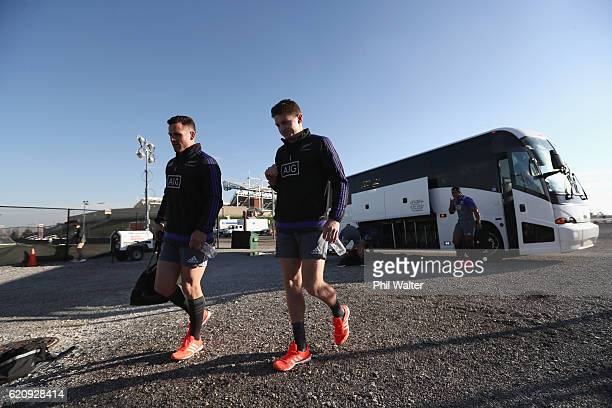 Ryan Crotty and Beauden Barrett of the New Zealand All Blacks arrive for a training session at Toyota Park on November 3 2016 in Chicago Illinois