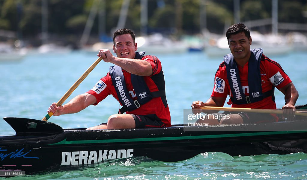 Ryan Crotty (L) and Jordan Taufua (R) of the Crusaders compete in a Wakaama ( outrigger canoe) challenge during the 2013 Super Rugby Season Launch at the Royal Akarana Yacht Club on February 12, 2013 in Auckland, New Zealand.