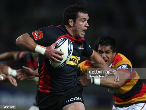 Ryan Crotty of Canterbury makes a break during the round 13 ITM Cup match between Waikato and Canterbury at Waikato Stadium on October 22 2010 in...