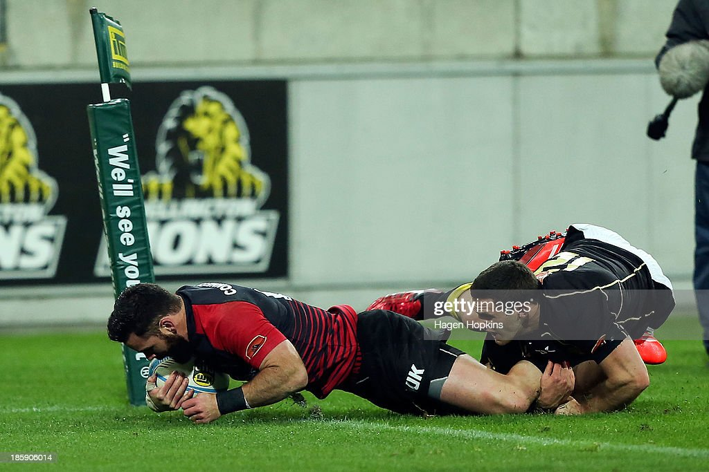 Ryan Crotty of Canterbury scores a try during the ITM Cup Premiership Final match between Wellington and Canterbury at Westpac Stadium on October 26, 2013 in Wellington, New Zealand.