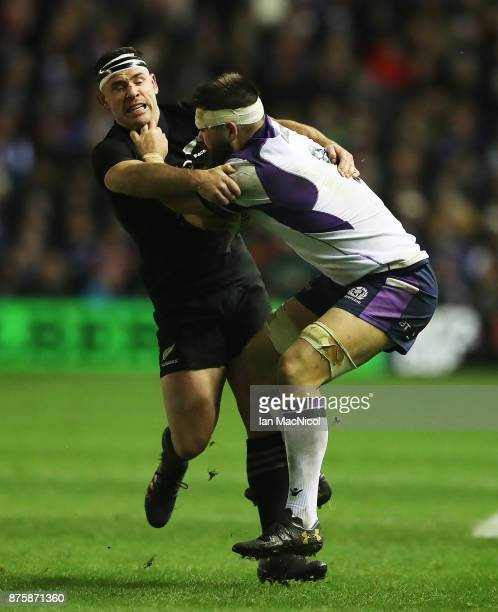 Ryan Crotty of New Zealand vies with Cornell du Preez of Scotland during the International test match between Scotland and New Zealand at Murrayfield...