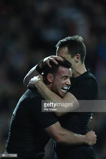 Ryan Crotty of the All Blacks celebrates his try with Ben Smith during the Rugby Championship match between the New Zealand All Blacks and Argentina...