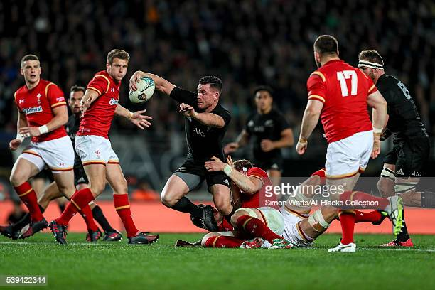 Ryan Crotty of the All Blacks looks to beat the Welsh defence during the International Test match between the New Zealand All Blacks and Wales at...