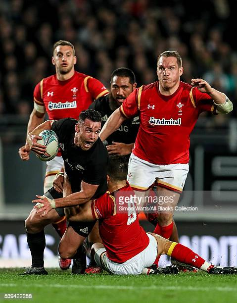 Ryan Crotty of the All Blacks looks to pass during the International Test match between the New Zealand All Blacks and Wales at Eden Park on June 11...