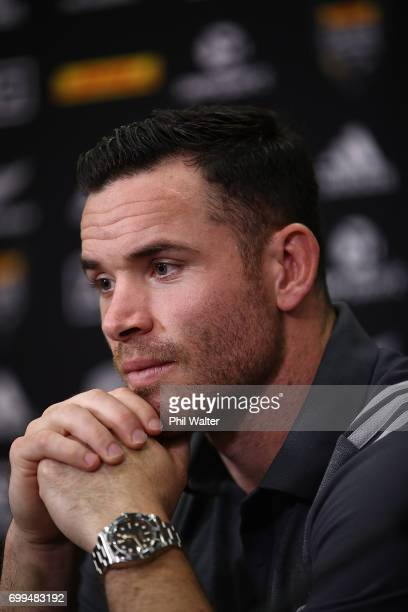 Ryan Crotty of the All Blacks speaks to media ahead of a New Zealand All Blacks training session at Trusts Stadium on June 22 2017 in Auckland New...