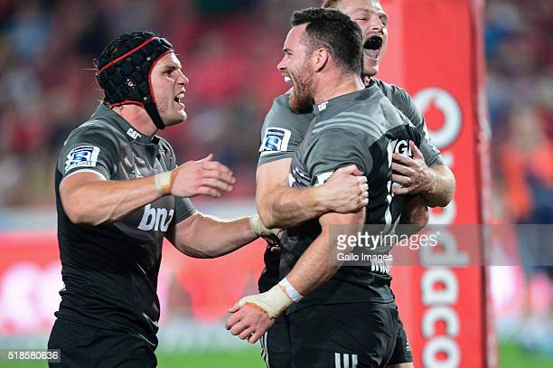 Ryan Crotty of the Crusaders celebrates during the Super Rugby match between Emirates Lions and Crusaders at Emirates Airline Park on April 01 2016...