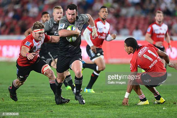Ryan Crotty of the Crusaders in action during the Super Rugby match between Emirates Lions and Crusaders at Emirates Airline Park on April 01 2016 in...