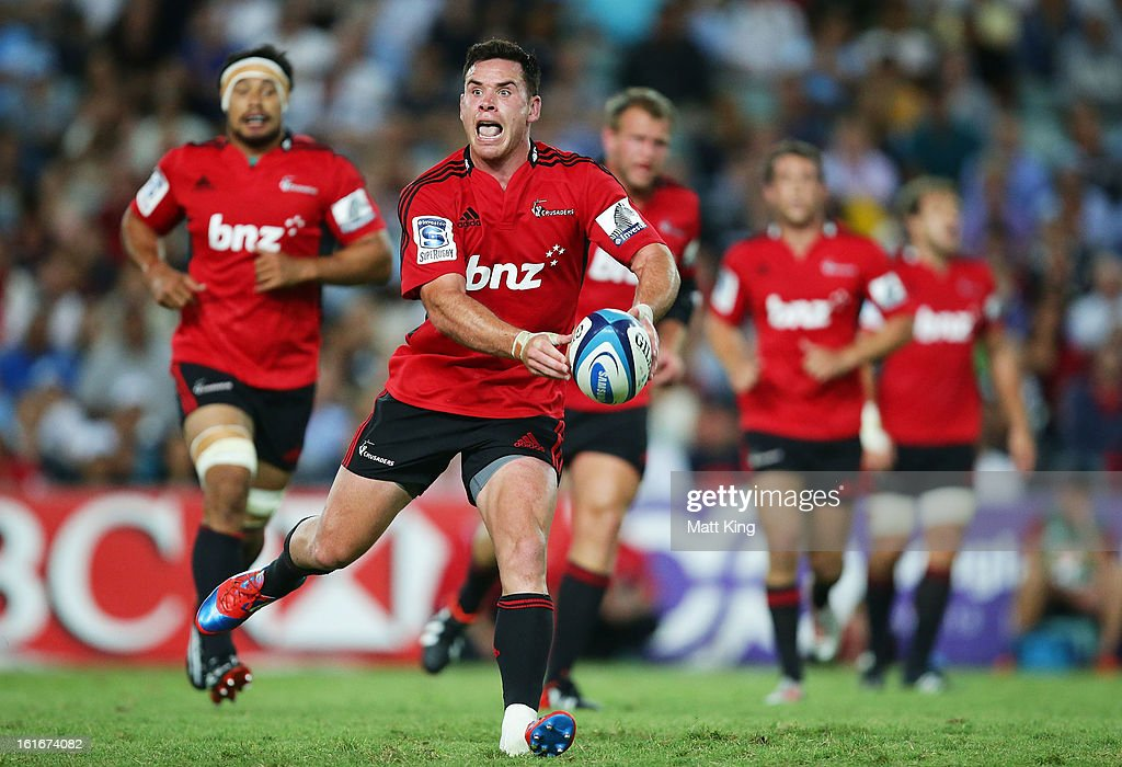 Ryan Crotty of the Crusaders passes during the Super Rugby trial match between the Waratahs and the Crusaders at Allianz Stadium on February 14, 2013 in Sydney, Australia.