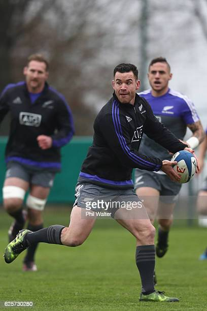 Ryan Crotty of the New Zealand All Blacks passes during the All Blacks captains run at the Suresnois Rugby Club on November 25 2016 in Paris France