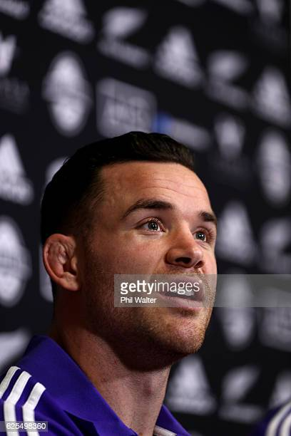 Ryan Crotty of the New Zealand All Blacks speaks during a press conference at the Movenpick Hotel on November 24 2016 in Paris France