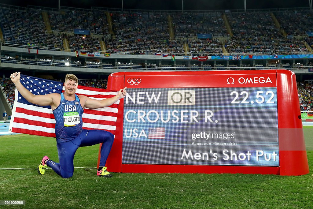 Ryan Crouser of the United States celebrates setting a new Olympic record of 2252 in the Men's Shot Put Final on Day 13 of the Rio 2016 Olympic Games...