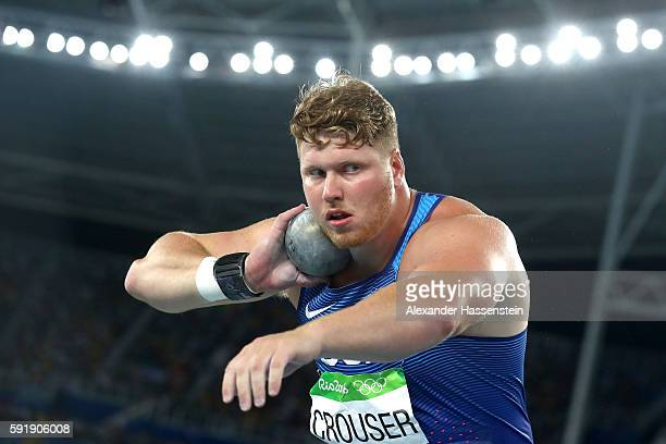 Ryan Crouser of the United States competes in the Men's Shot Put Final on Day 13 of the Rio 2016 Olympic Games at the Olympic Stadium on August 18...