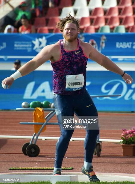 Ryan Crouser of the US competes in the men's shot put at the IAAF Diamond League Mohammed VI Athletics meeting in Rabat on July 16 2017 / AFP PHOTO /...