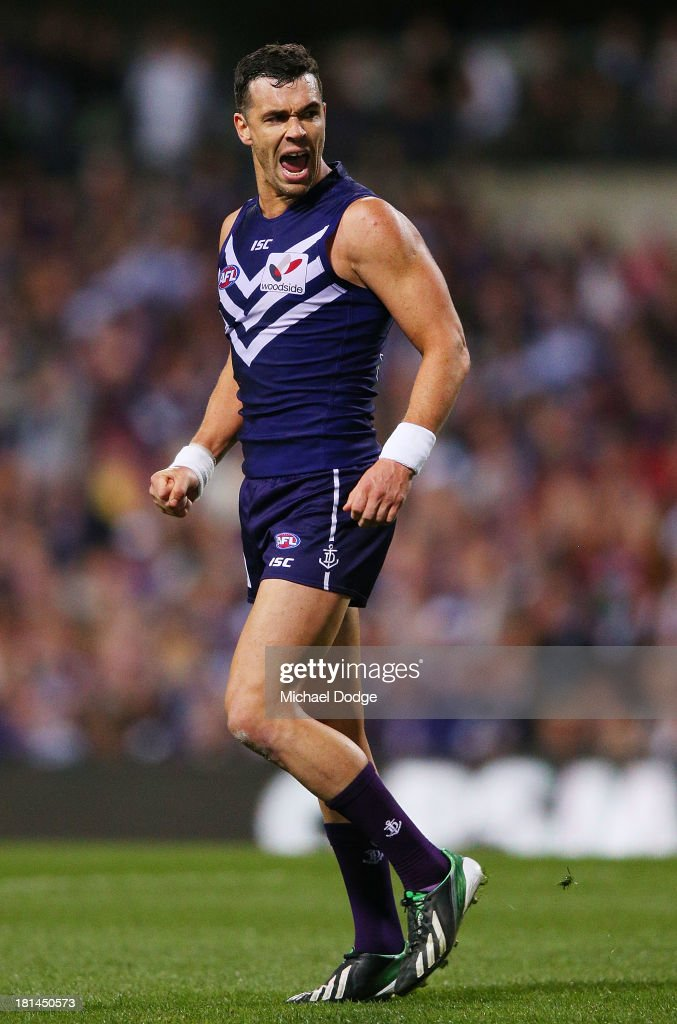 Ryan Crowley of the Dockers celebrates a goal during the AFL Second Preliminary Final match between the Fremantle Dockers and the Sydney Swans at Patersons Stadium on September 21, 2013 in Perth, Australia.