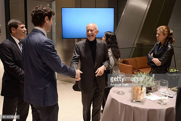 Ryan D'Agostino Norman Foster and Elena Ochoa Foster attend Building with History The Exhibit at Hearst Tower on November 17 2016 in New York City