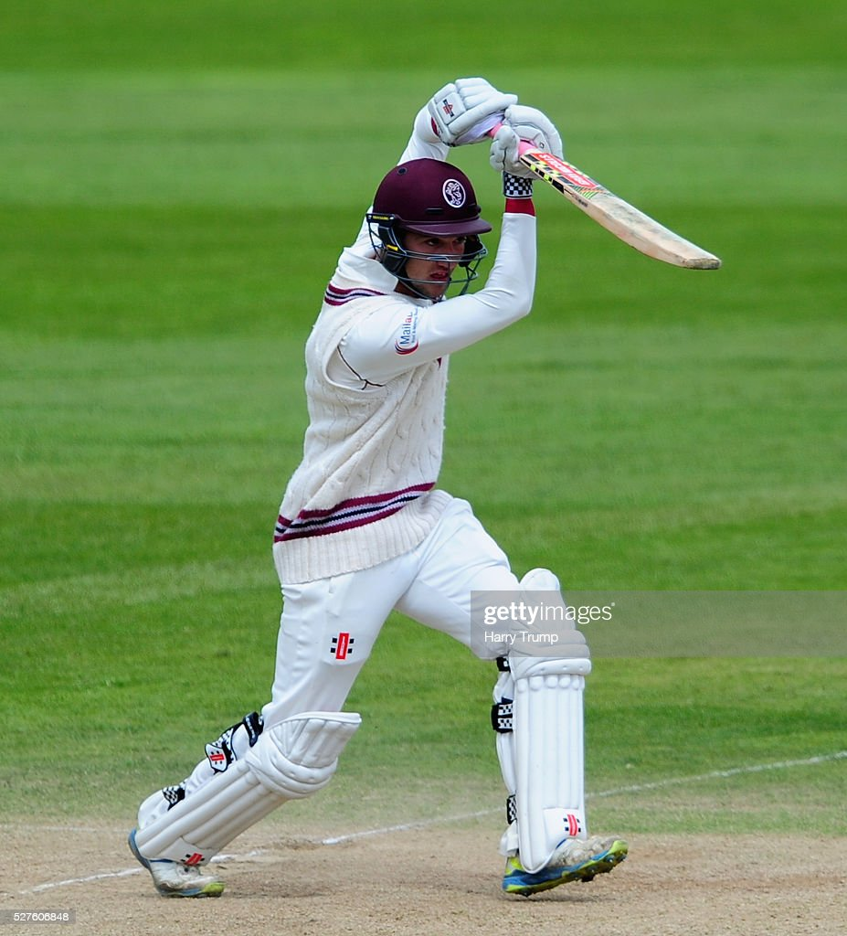 Ryan Davies of Somerset hits out during Day Three of the Specsavers County Championship Division One match between Someret and Lancashire at the County Ground on May 03, 2016 in Somerset, United Kingdom.
