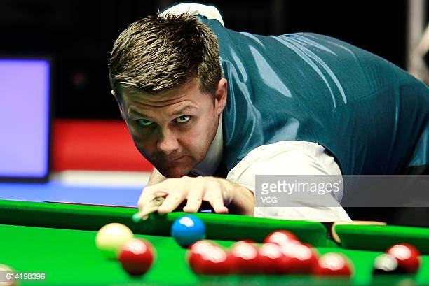 Ryan Day of Wales plays a shot during the second round match against Stephen Maguire of Scotland on day three of the Coral English Open 2016 at Event...