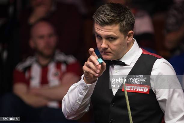 Ryan Day of Wales reacts during his first round match against Xiao Guodong of China on day five of Betfred World Championship 2017 at Crucible...