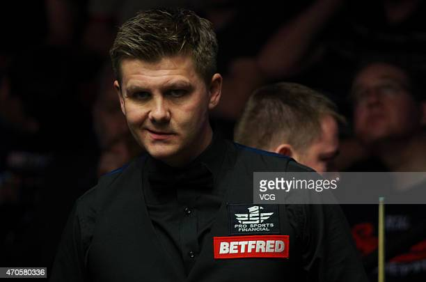 Ryan Day of Wales reacts in his match against Mark Allen of North Ireland during day four of the 2015 Betfred World Snooker Championship at Crucible...