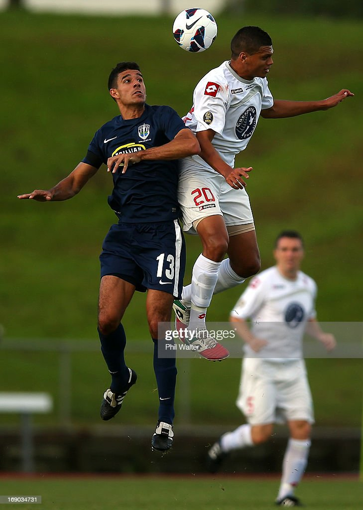 Ryan De Vries of Waitakere (R) and Alex Feneridis (L) of Auckland header the ball during the OFC Champions League Final match between Auckland and Waitakere at Mt Smart Stadium on May 19, 2013 in Auckland, New Zealand.