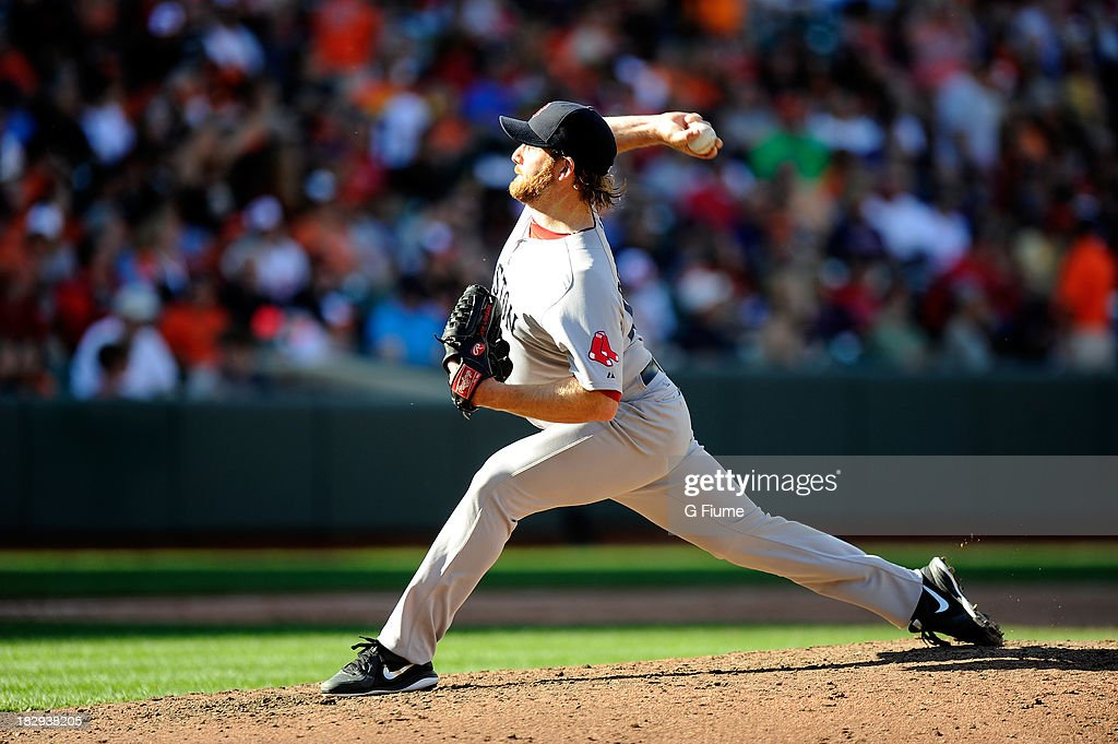 <a gi-track='captionPersonalityLinkClicked' href=/galleries/search?phrase=Ryan+Dempster&family=editorial&specificpeople=211606 ng-click='$event.stopPropagation()'>Ryan Dempster</a> #46 of the Boston Red Sox pitches against the Baltimore Orioles at Oriole Park at Camden Yards on September 29, 2013 in Baltimore, Maryland.