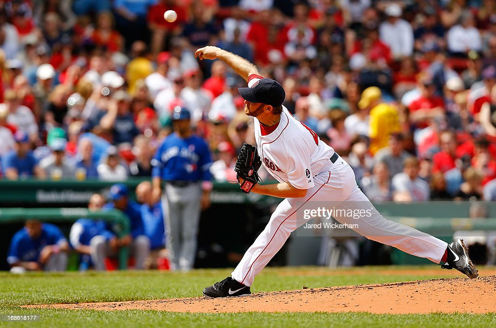 Ryan Dempster #46 of the Boston Red Sox pitches against the Toronto Blue Jays during the game on May 12, 2013 at Fenway Park in Boston, Massachusetts.