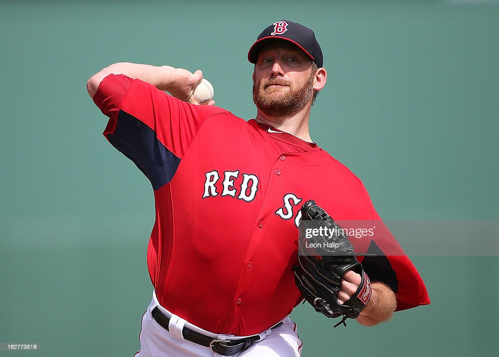 <a gi-track='captionPersonalityLinkClicked' href=/galleries/search?phrase=Ryan+Dempster&family=editorial&specificpeople=211606 ng-click='$event.stopPropagation()'>Ryan Dempster</a> #46 of the Boston Red Sox pitches in the first inning of the game against the St. Louis Cardinals at JetBlue Park on February 26, 2013 in Fort Myers, Florida.