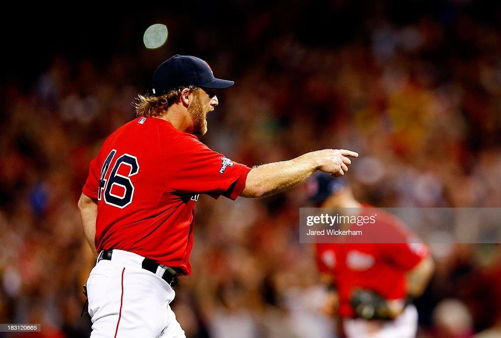 <a gi-track='captionPersonalityLinkClicked' href=/galleries/search?phrase=Ryan+Dempster&family=editorial&specificpeople=211606 ng-click='$event.stopPropagation()'>Ryan Dempster</a> #46 of the Boston Red Sox reacts against the Tampa Bay Rays during Game One of the American League Division Series at Fenway Park on October 4, 2013 in Boston, Massachusetts.
