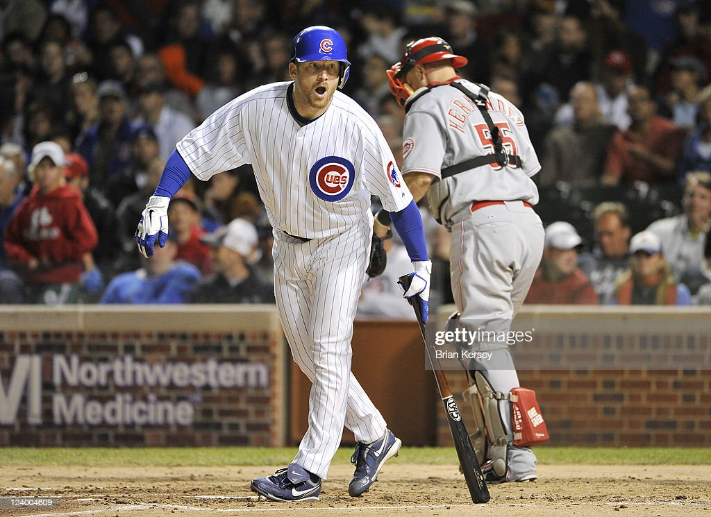 <a gi-track='captionPersonalityLinkClicked' href=/galleries/search?phrase=Ryan+Dempster&family=editorial&specificpeople=211606 ng-click='$event.stopPropagation()'>Ryan Dempster</a> #46 of the Chicago Cubs strikes out during the third inning against the Cincinnati Reds at Wrigley Field on September 7, 2011 in Chicago, Illinois.