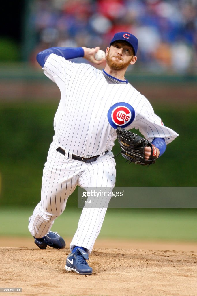Ryan Dempster #46 of the Chicago Cubs throws a pitch against the Los Angeles Dodgers in Game One of the NLDS during the 2008 MLB Playoffs at Wrigley Field on October 1, 2008 in Chicago, Illinois.